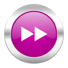 rewind violet circle chrome web icon isolated