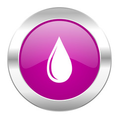 water drop violet circle chrome web icon isolated