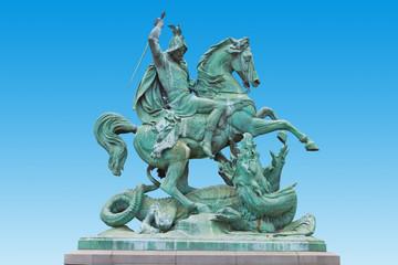 St. George killing the Dragon, bronze statue in Zagreb, Croatia.