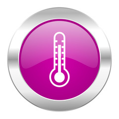 thermometer violet circle chrome web icon isolated