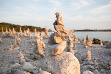 stacked rocks in the beach