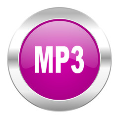 mp3 violet circle chrome web icon isolated
