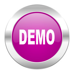 demo violet circle chrome web icon isolated