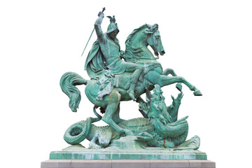 St. George kills the Dragon famous monument in Zagreb, Croatia