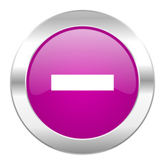 minus violet circle chrome web icon isolated