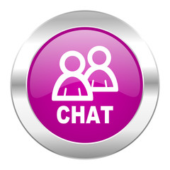 chat violet circle chrome web icon isolated
