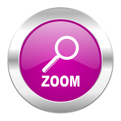 zoom violet circle chrome web icon isolated