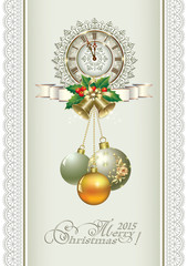 Christmas card with 2015 and a clock in the form of snowflakes