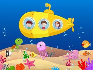 Happy kids in submarine