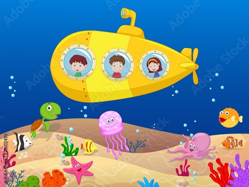 Happy kids in submarine