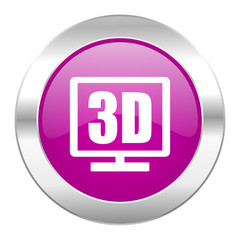 3d display violet circle chrome web icon isolated