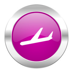 arrivals violet circle chrome web icon isolated