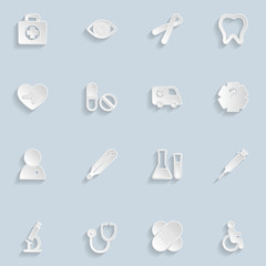Paper Medical Icons Set