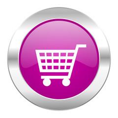 cart violet circle chrome web icon isolated