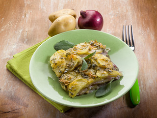 cake with potatoes and onions