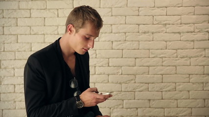 Attractive Guy Reading Sms