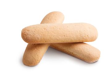 Italian savoiardi cookies isolated on white background