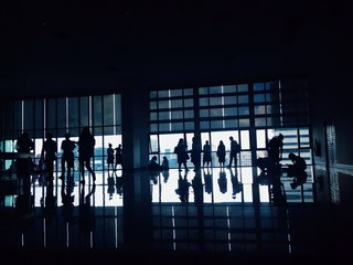 Shadows of the people in a lot of movemonts.