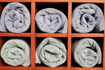 Gray towels in the closet