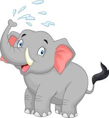 Cartoon elephant spraying water