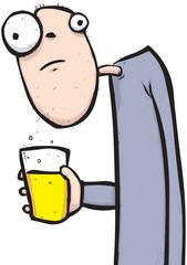 Man drinking beer cartoon character