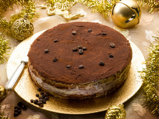 tiramisu over golden christmas table