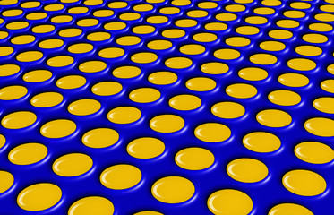 Yellow dots on blue in plastic effect