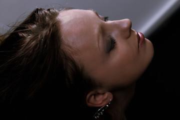 Woman depression, a face portrait