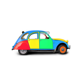 Retro car painted in different colors on a white background