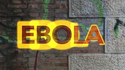 Muro con scritta ebola