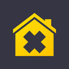 House icon with an irritating substance sign