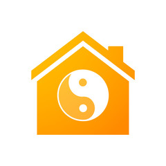 House icon with a ying yang