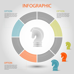 vector striped pie graph - info circle chart template