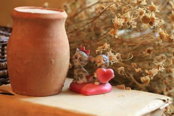 retro herbarium kitten heart