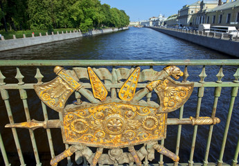 fence Panteleymonovsky Bridge, Fontanka River, St Petersburg