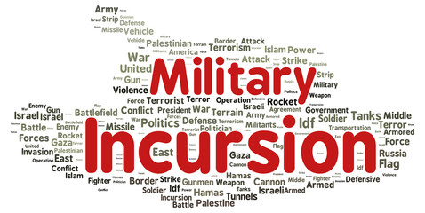 Military incursion word cloud shape
