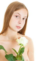 beautiful nude girl with white rose
