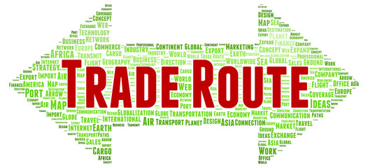 Trade route word cloud shape