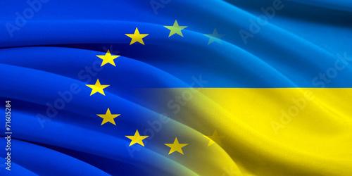 canvas print picture EU and Ukraine.
