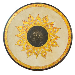Golden Thai pattern on a ancient Drum surface texture on isolate
