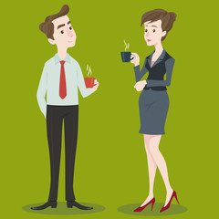 Businesswoman and businessman drinking coffee.