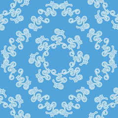 blue and white seamless decorative pattern - vector