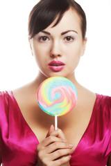 pretty woman with lollipop.