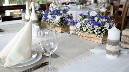 wedding table newlyweds, decorated with flowers