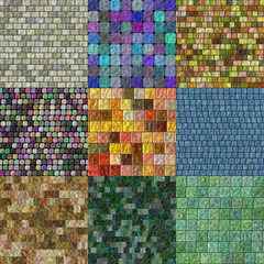Set of glass tiles seamless generated textures