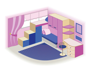 modern children's room interior (vector illustration)