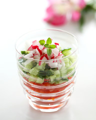Fresh veggi salad in glass