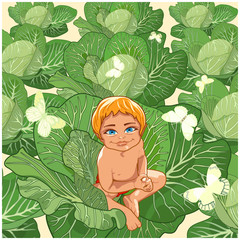 The kid sitting in cabbage.