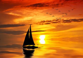 velero por el centro del mar
