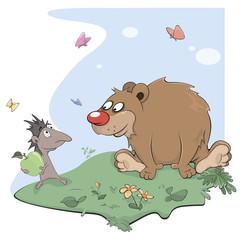 Hedgehog and bear cartoon